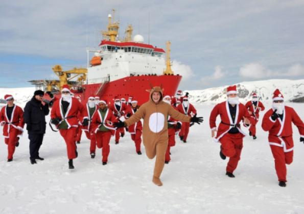 santas in antarctica