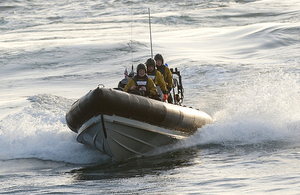 A Royal Navy Pacific 24 rigid inflatable boat