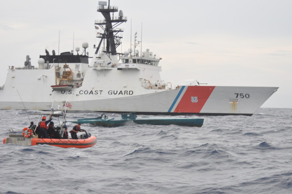 A Coast Guard Cutter Bertholf boarding team aboard an Over the Horizon Long-Range Interceptor boat approaches a self-propelled self-propelled vessel suspected of smuggling 7.5 tons of cocaine in teh Easetrn Pacific Ocean, Aug. 31, 2015. The seized contraband is worth an estimated $227 million. U.S. Coast Guard photo.