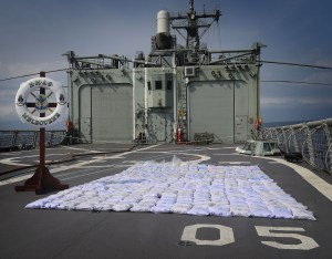 Seized illegal narcotics are seen on HMAS Melbourne's flight deck prior to disposal. About 427 kilograms of heroin was confiscated from a dhow smuggling the illegal drugs across the Indian Ocean.    *** Local Caption *** HMAS Melbourne is deployed on Operation MANITOU, Australia's contribution to maritime security in the Middle East Region, assigned to the Combined Maritime Forces (CMF).   Melbourne is conducting Maritime Security Operations under the authority of CMF Combined Task Force (CTF) 150 in the Indian Ocean and Arabian Gulf during her deployment in the Middle East Region.  CMF's main focus areas are defeating terrorism, preventing piracy, encouraging regional cooperation, and promoting a safe maritime environment.